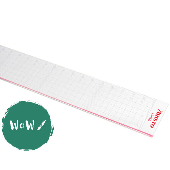 Cutting Ruler, Clear Acrylic with metal cutting edge 30cm by Aristo