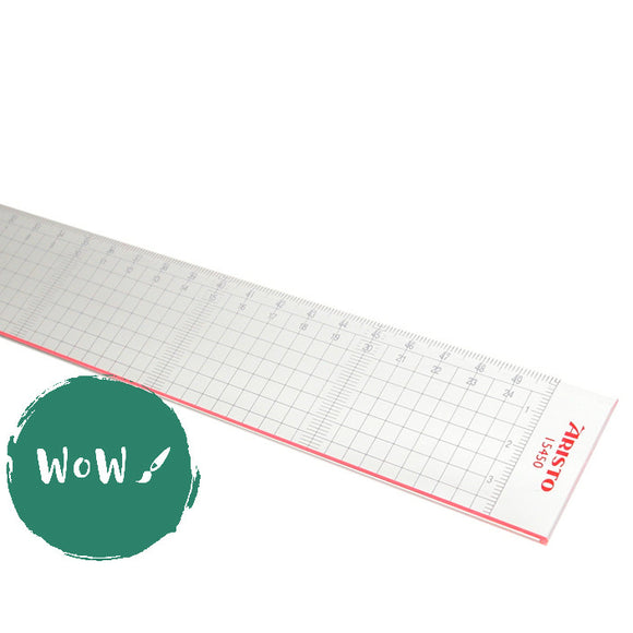 Cutting Ruler, Clear Acrylic with metal cutting edge 50cm by Aristo