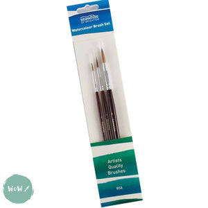 Soft Squirrel Hair Watercolour Brush pack- BS8 Sizes 2, 4 & 8 Round