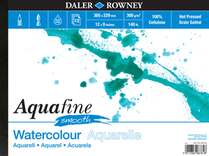 Daler Rowney Aquafine Watercolour Paper Pad 140lb (300gsm) HP Surface- A3