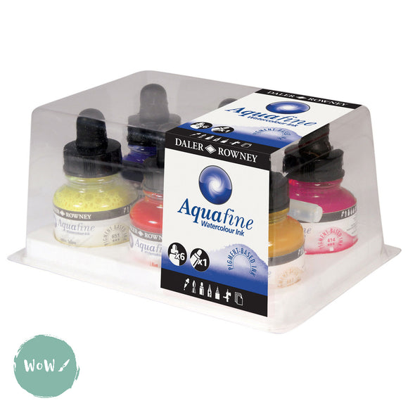 Daler Rowney Aquafine Watercolour Ink- INTRODUCTORY SET - 6 X 29.5ml Bottles plus re-fillable marker