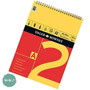 Daler Rowney RED & YELLOW Spiral bound Cartridge paper pads, 25 sheets 150gsm, A2