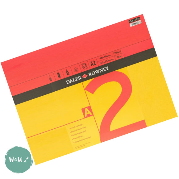 Daler Rowney RED & YELLOW Square bound Cartridge paper pads, 25 sheets 150gsm, A2