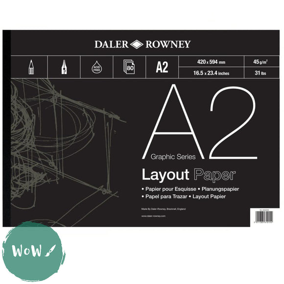 Daler Rowney Graphic Series Layout Pad,  80 sheets 45g white Layout paper A2
