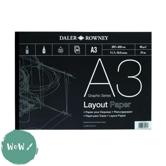 Daler Rowney Graphic Series Layout Pad,  80 sheets 45g white Layout paper A3
