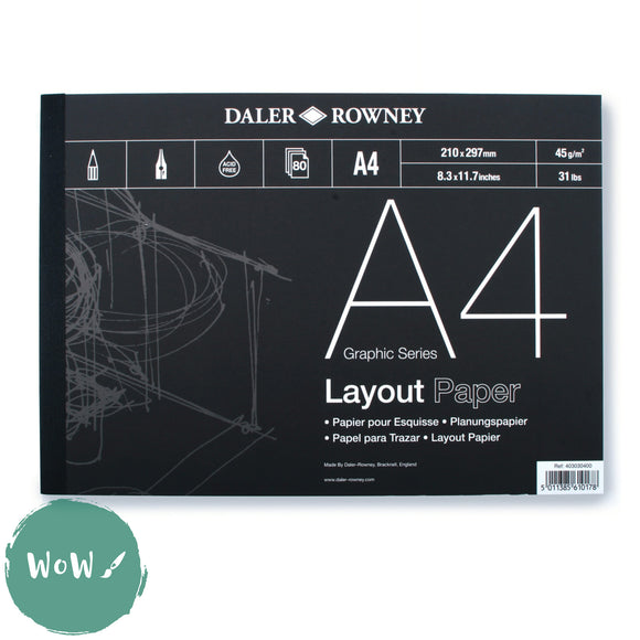 Daler Rowney Graphic Series Layout Pad,  80 sheets 45g white Layout paper A4