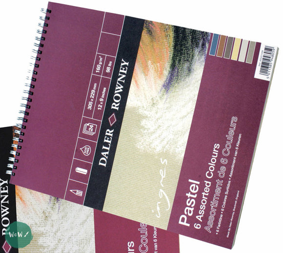 Ingres Pastel Paper Spiral Pad - 6 Assorted Colours