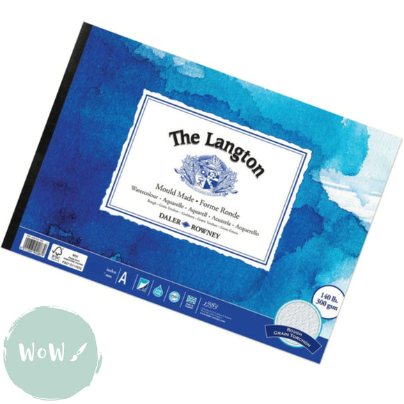Daler Rowney Langton Watercolour Paper Pad, 140lb Rough Surface-  A2