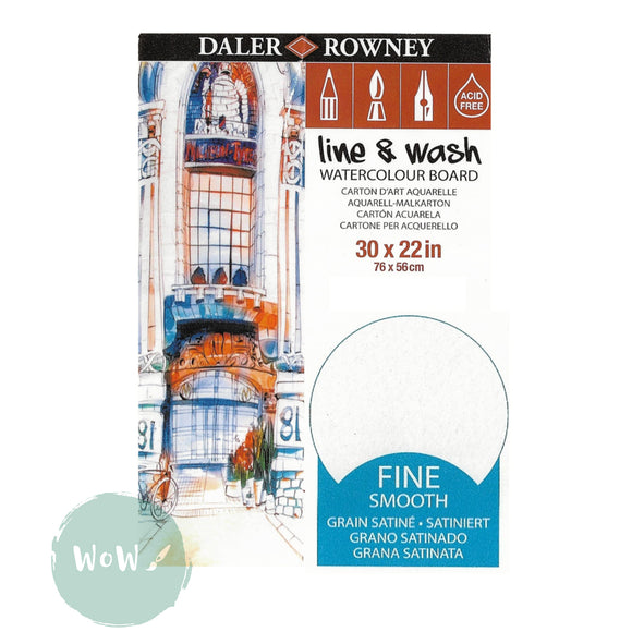 "Daler Rowney Line & Wash Watercolour Board 30 x 22""- FINE (Smooth) Surface"