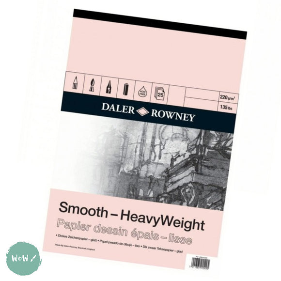 Daler Rowney Smooth Heavyweight Cartridge paper pads 220gsm A2