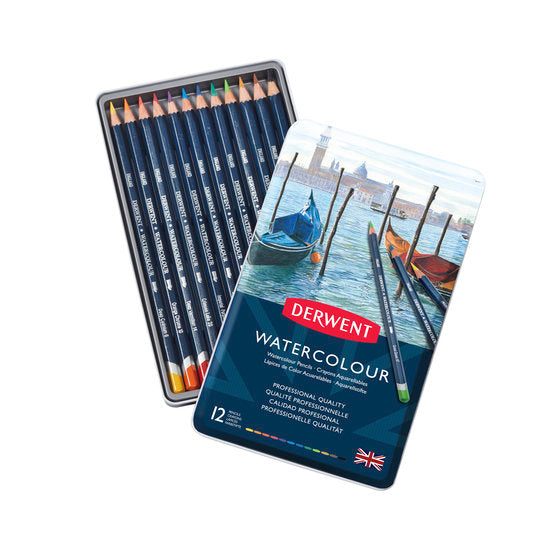 Derwent WATERCOLOUR Pencils Sets- Tin of 12