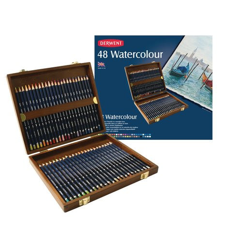 Derwent WATERCOLOUR Pencils Sets - Wooden box of 48