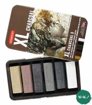 Derwent XL Charcoal Blocks- Tin of 6 assorted