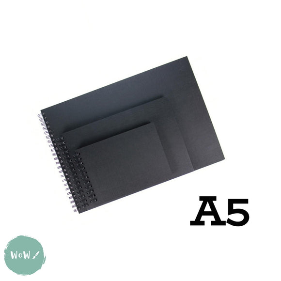 350 gsm Black cartridge, Spiral bound Hardback sketchbook, 20 sheets- A5 Landscape