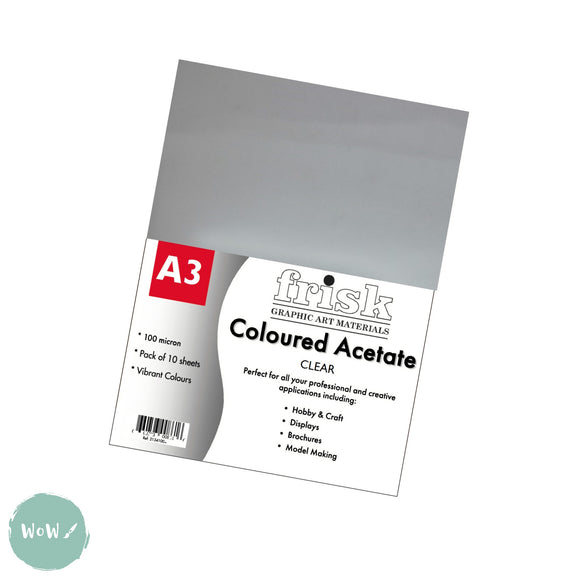 Acetate- Frisk Clear 100 micron Pack of 10- A3