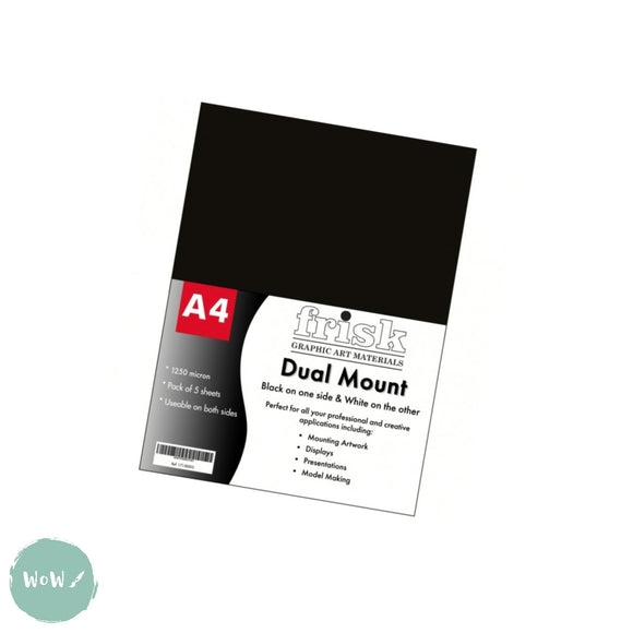 Mountboard- Frisk Dual Mount- Black/White- Pack of 5 sheets- A4