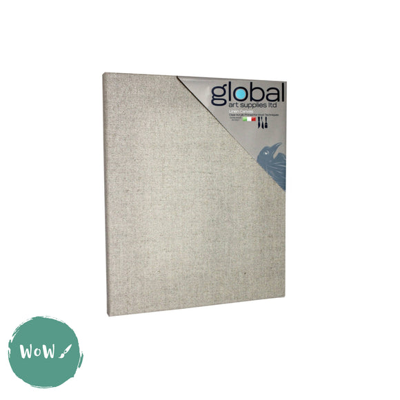 Global Arts 18mm Deep Artists Clear Primed Stretched Linen Canvas PACK of 4  10 x 12