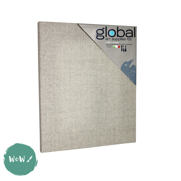 Global Arts 18mm Deep Artists Clear Primed Stretched Linen Canvas PACK of 4  12 x 16