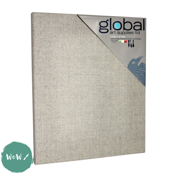 Global Arts 18mm Deep Artists Clear Primed Stretched Linen Canvas PACK of 4  16 x 20