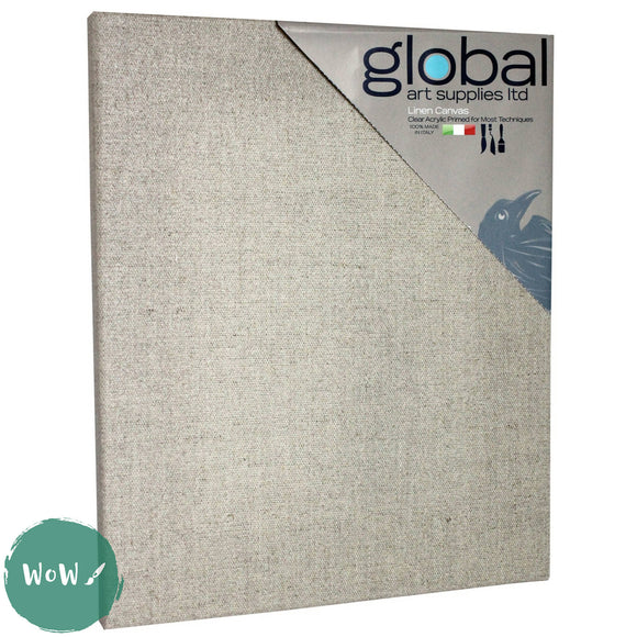 Global Arts 18mm Deep Artists Clear Primed Stretched Linen Canvas PACK of 4  20 x 30