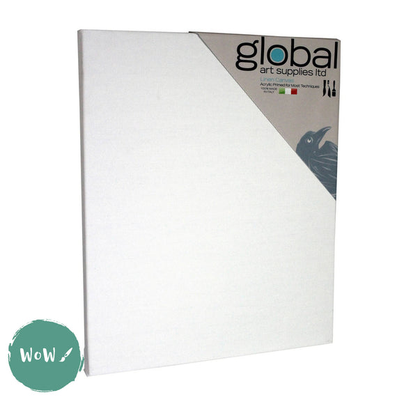 Global Arts 18mm Deep Artists White Primed Stretched Linen Canvas PACK of 4  20 x 30