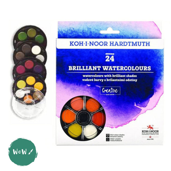 Koh-i-noor Brilliant Watercolour Round Compact 24 Colours