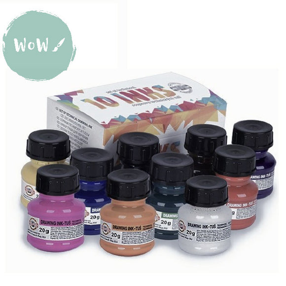 Koh-I-Noor Drawing Inks Assorted Set of 10 x 20g