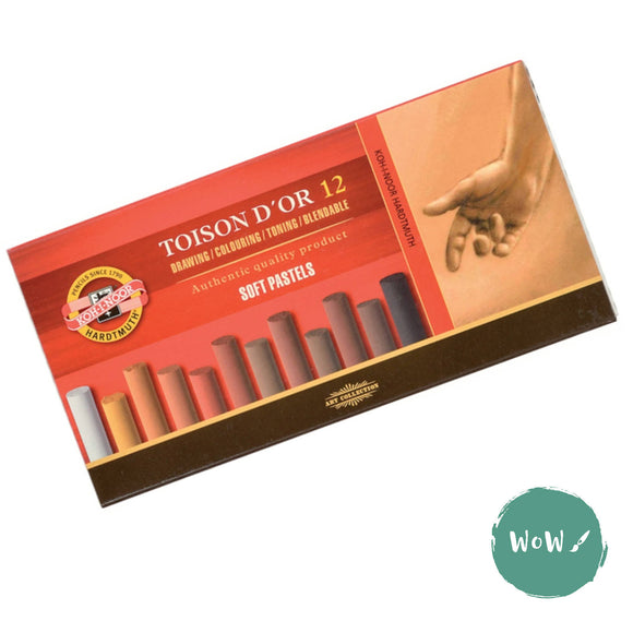 Koh-i-Noor Toison D'or ROUND Soft Pastels Sets- 12 Browns