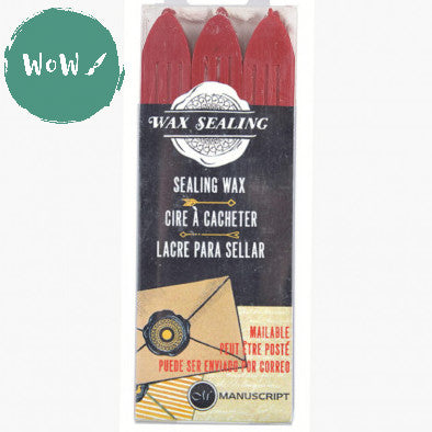 Manuscript Sealing Wax sticks (Pack of 3) RED