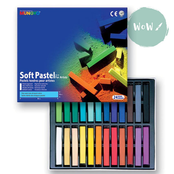Soft Pastels Sets - Mungyo Soft Full Length Pastels for Artists- Set of 24