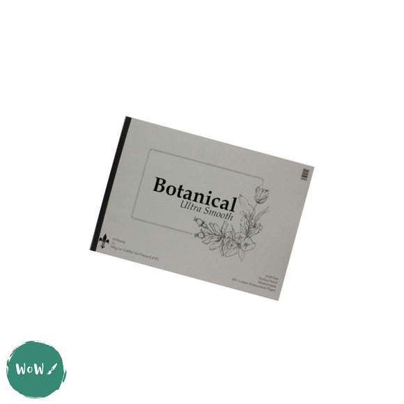 Botanical Ultra Smooth Watercolour Paper Pad, 300gsm/140lb, Hot Pressed (HP) Surface A4