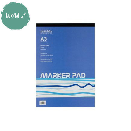 A3 Marker Pad, 50 sheets 70gsm bleed-proof Marker paper by Seawhite