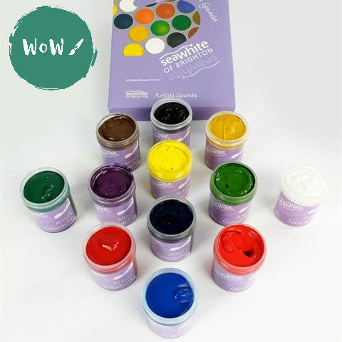 Artists Gouache, Assorted set of 12 x 40ml pots by Seawhite
