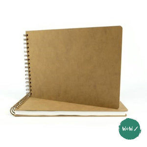 Hardback Spiral Bound Sketch book, Drawing Board Cover, A3 Landscape, 160gsm White all-media paper