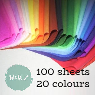 Tissue paper 20 colour mixed pack of 100 sheets