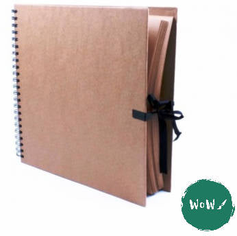 Kraft paper 170gsm, 300mm square Hardback, tie- up, Spiral bound Work / Display Book