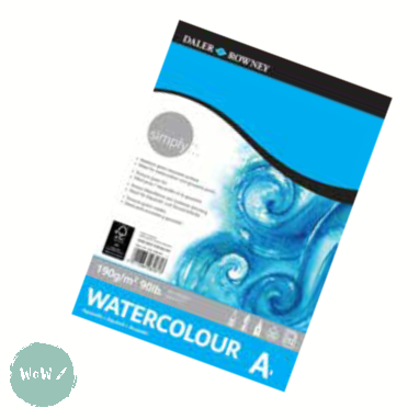 Watercolour Pad- Daler Rowney SIMPLY 190gsm Medium Grain Surface- A3