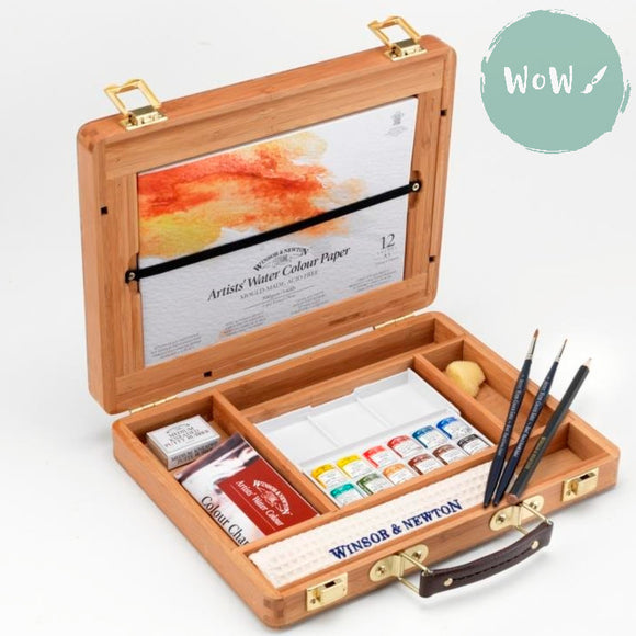 Winsor & Newton Professional (Artist's) Water Colour Set- Bamboo Box 12 half pan