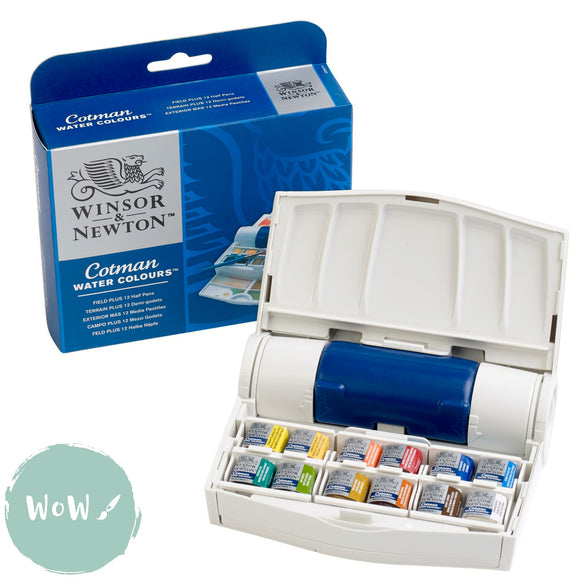 Winsor & Newton Cotman Watercolour Sets- The Field Plus Set 12 Half Pans