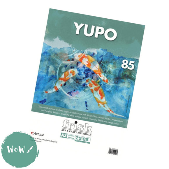 Yupo Synthetic Paper, 85gsm-  A3  Pack of 25 loose sheets
