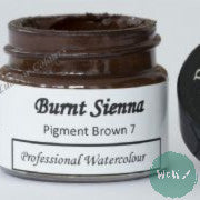 A J Ludlow Professional Watercolour 15ml Glass Jar- Burnt Sienna