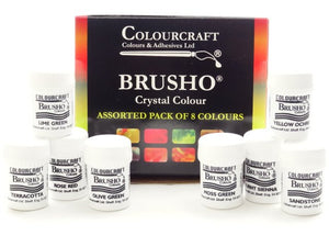 Brusho New Colours Assorted - 8 x 15g- Free Atomiser Bottle worth £1.99 included.