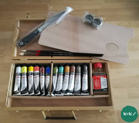 Daler Rowney Georgian Oil Wooden Box Set, plus Free Oil Painting Paper A3 worth £11