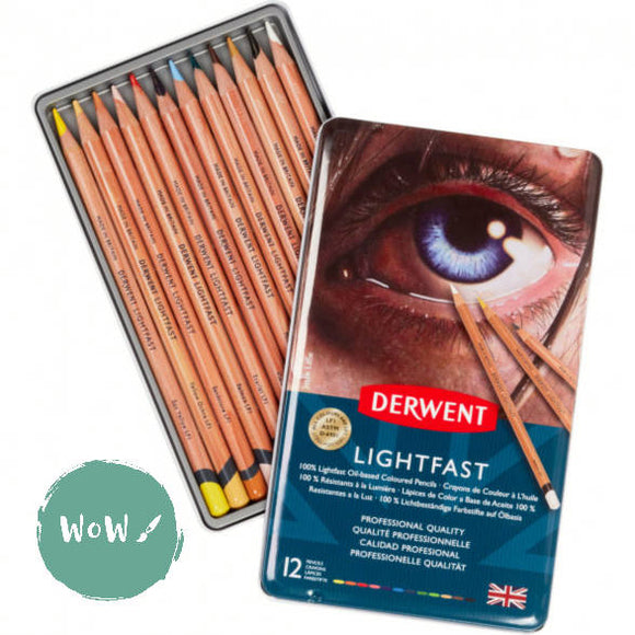 Derwent LIGHTFAST Pencils Sets- 12 tin