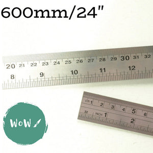 "Stainless Steel Rule, metric & imperial, 24""/600mm long"