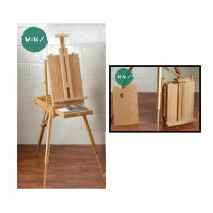HIGHLAND - Beechwood Sketch Box Easel with Legs & Metal Tray