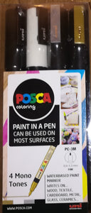 Uniball Posca PC-3M Fine Bullet Tip Paint Marker- Mono Set of 4