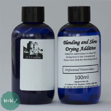 AJ Ludlow Watercolour Medium- Blending and Slow Drying Additive 100ml blue plastic bottle