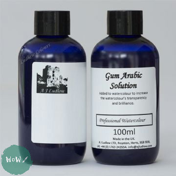 AJ Ludlow Watercolour Medium- Gum Arabic solution 100ml blue plastic bottle