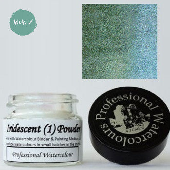 AJ Ludlow Watercolour Medium- Iridescent powder- 4g Jar-  No. 1 - Light Green to Turquoise